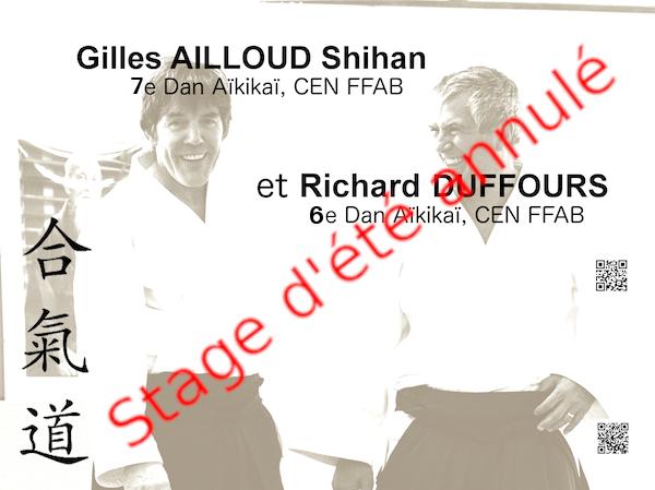 Annulation du stage d'Aïkido prévu du 17 au 24 juillet 2021