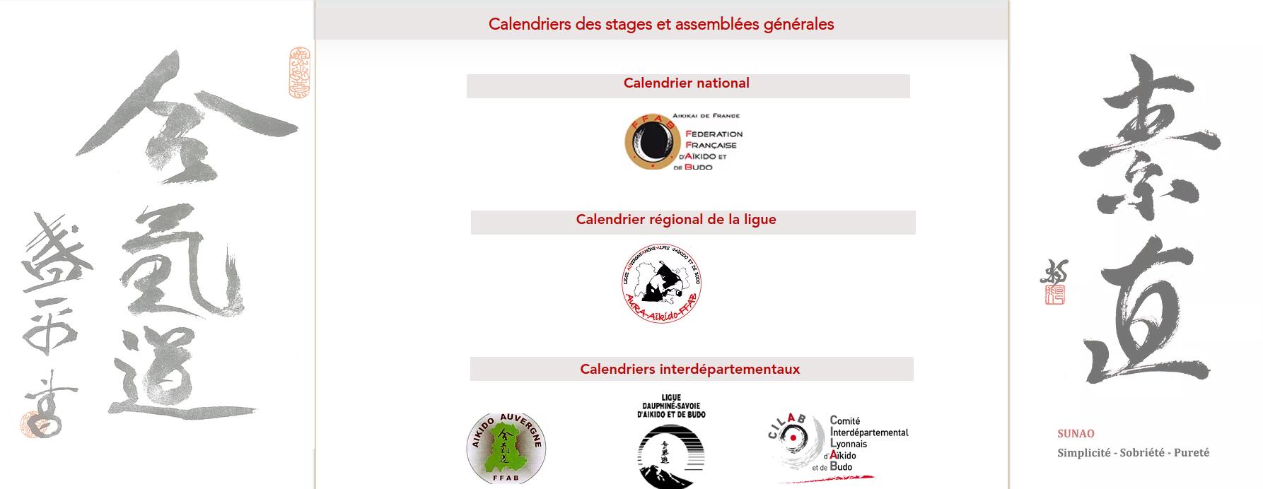 Calendrier de stages 2021-2022